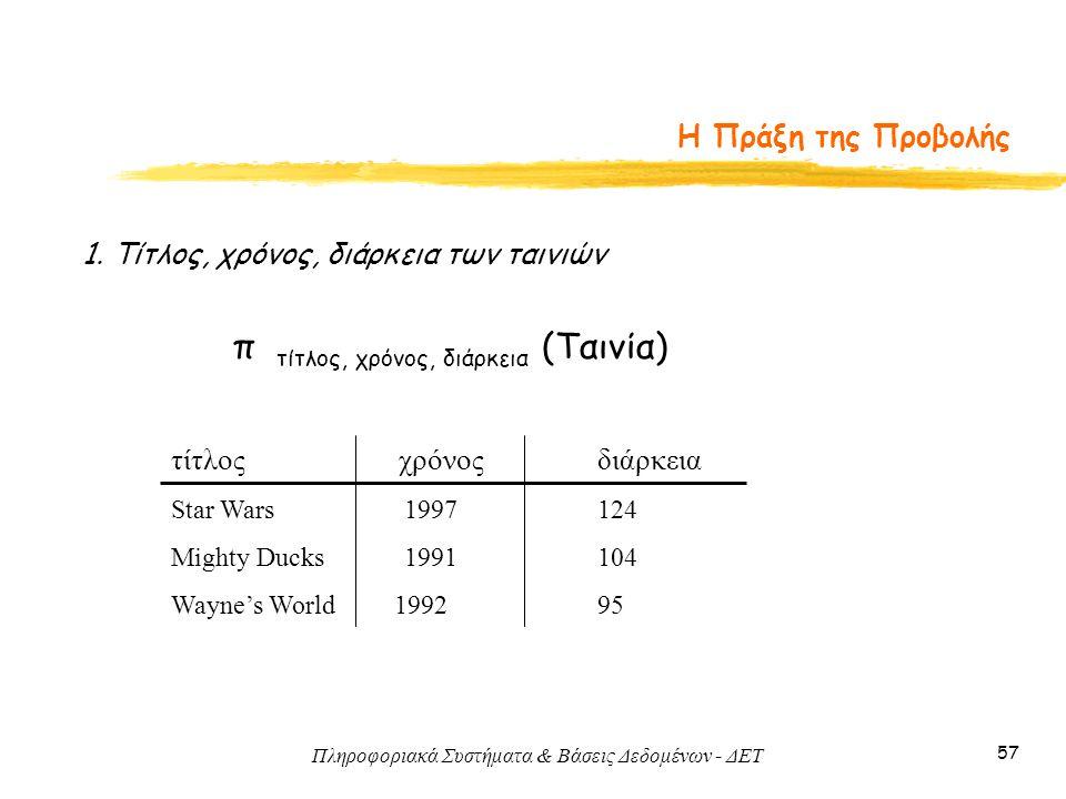 Πληροφοριακά Συστήματα & Βάσεις Δεδομένων - ΔΕΤ 57 Η Πράξη της Προβολής 1. Τίτλος, χρόνος, διάρκεια των ταινιών π τίτλος, χρόνος, διάρκεια (Ταινία) τί