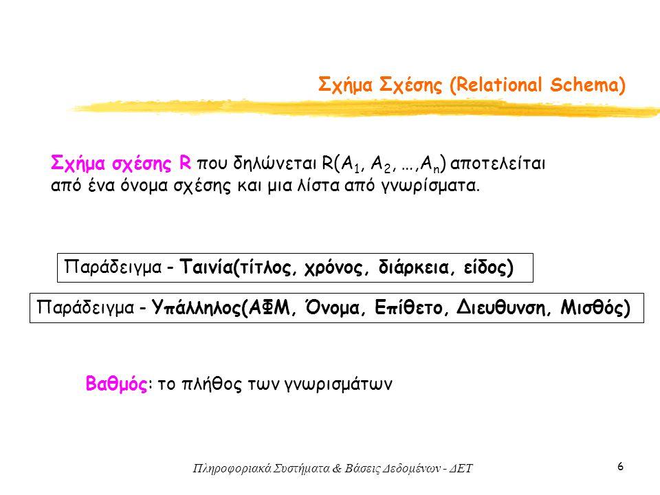 Πληροφοριακά Συστήματα & Βάσεις Δεδομένων - ΔΕΤ 37 Συσχετίσεις 1-1 • Παράδειγμα • Εναλλακτικά, συγχώνευση των S και T σε μία μόνο σχέση -- πότε; -- κλειδί;