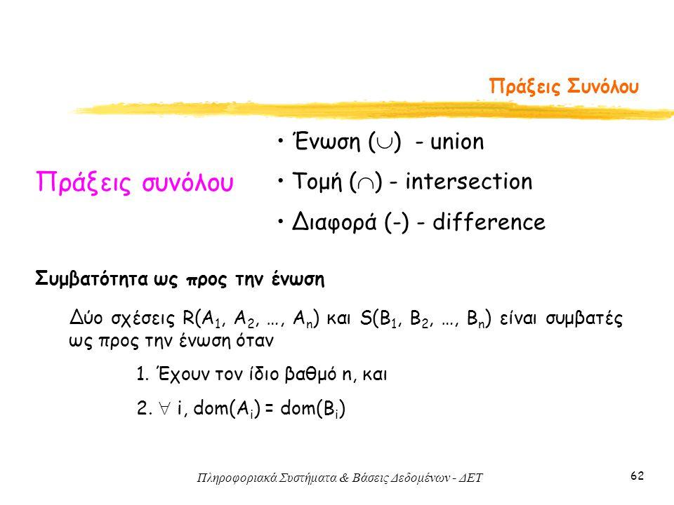 Πληροφοριακά Συστήματα & Βάσεις Δεδομένων - ΔΕΤ 62 Πράξεις Συνόλου Πράξεις συνόλου • Ένωση (  ) - union • Τομή (  ) - intersection • Διαφορά (-) - d