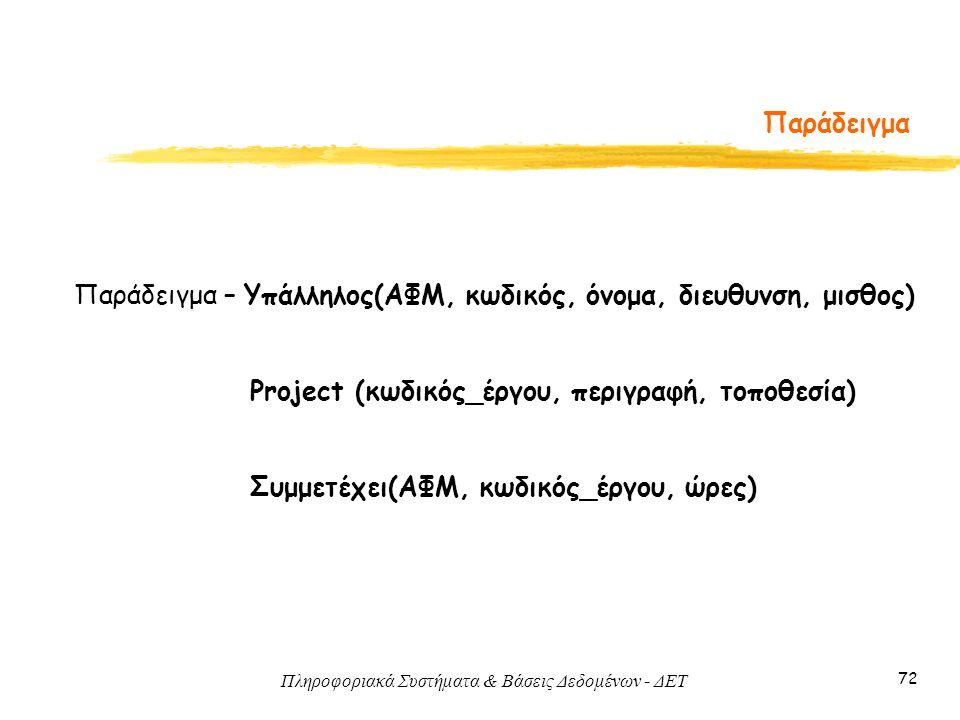 Πληροφοριακά Συστήματα & Βάσεις Δεδομένων - ΔΕΤ 72 Παράδειγμα Παράδειγμα – Υπάλληλος(ΑΦΜ, κωδικός, όνομα, διευθυνση, μισθος) Project (κωδικός_έργου, π