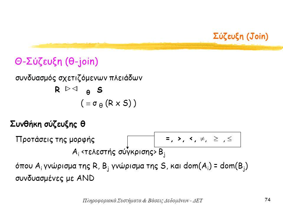 Πληροφοριακά Συστήματα & Βάσεις Δεδομένων - ΔΕΤ 74 Σύζευξη (Join) Θ-Σύζευξη (θ-join) συνδυασμός σχετιζόμενων πλειάδων R θ S (  σ θ (R x S) ) =, >, <,