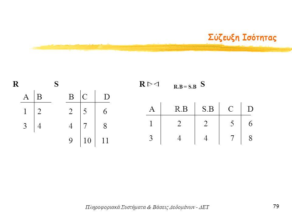 Πληροφοριακά Συστήματα & Βάσεις Δεδομένων - ΔΕΤ 79 Σύζευξη Ισότητας Α Β 1 2 3 4 B C D 2 5 6 4 7 8 9 10 11 RS A R.B S.B C D 1 2 2 5 6 3 4 4 7 8 R R.B =