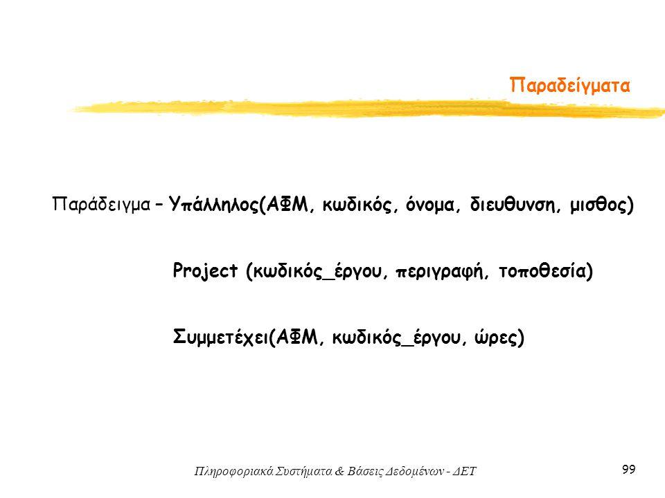 Πληροφοριακά Συστήματα & Βάσεις Δεδομένων - ΔΕΤ 99 Παραδείγματα Παράδειγμα – Υπάλληλος(ΑΦΜ, κωδικός, όνομα, διευθυνση, μισθος) Project (κωδικός_έργου,