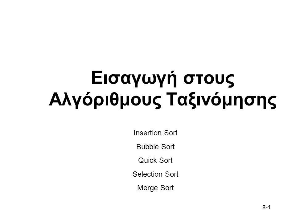 8-1 Εισαγωγή στους Αλγόριθμους Ταξινόμησης Insertion Sort Bubble Sort Quick Sort Selection Sort Merge Sort
