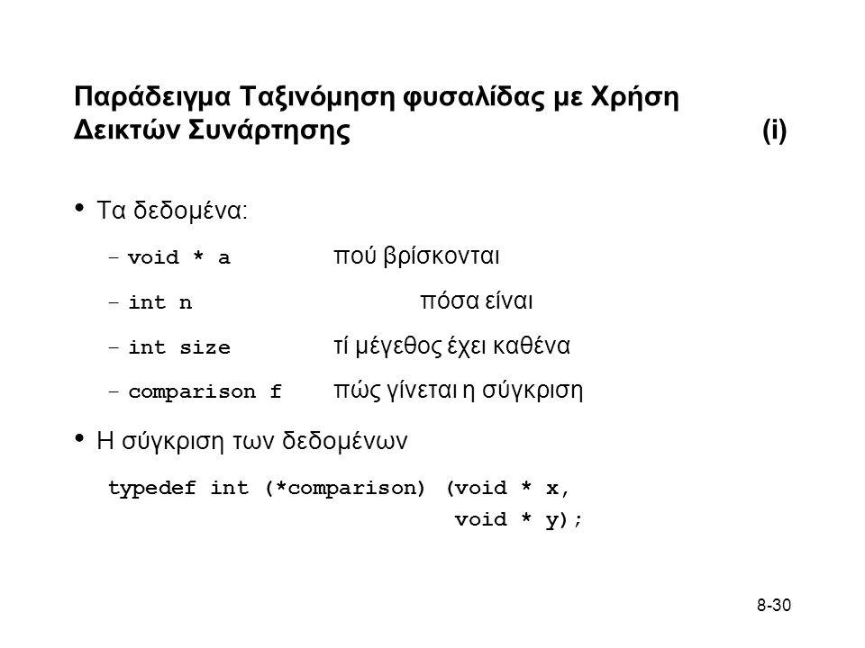8-30 Παράδειγμα Ταξινόμηση φυσαλίδας με Χρήση Δεικτών Συνάρτησης(i) • Τα δεδομένα: –void * a πού βρίσκονται –int n πόσα είναι –int size τί μέγεθος έχει καθένα –comparison f πώς γίνεται η σύγκριση • Η σύγκριση των δεδομένων typedef int (*comparison) (void * x, void * y);