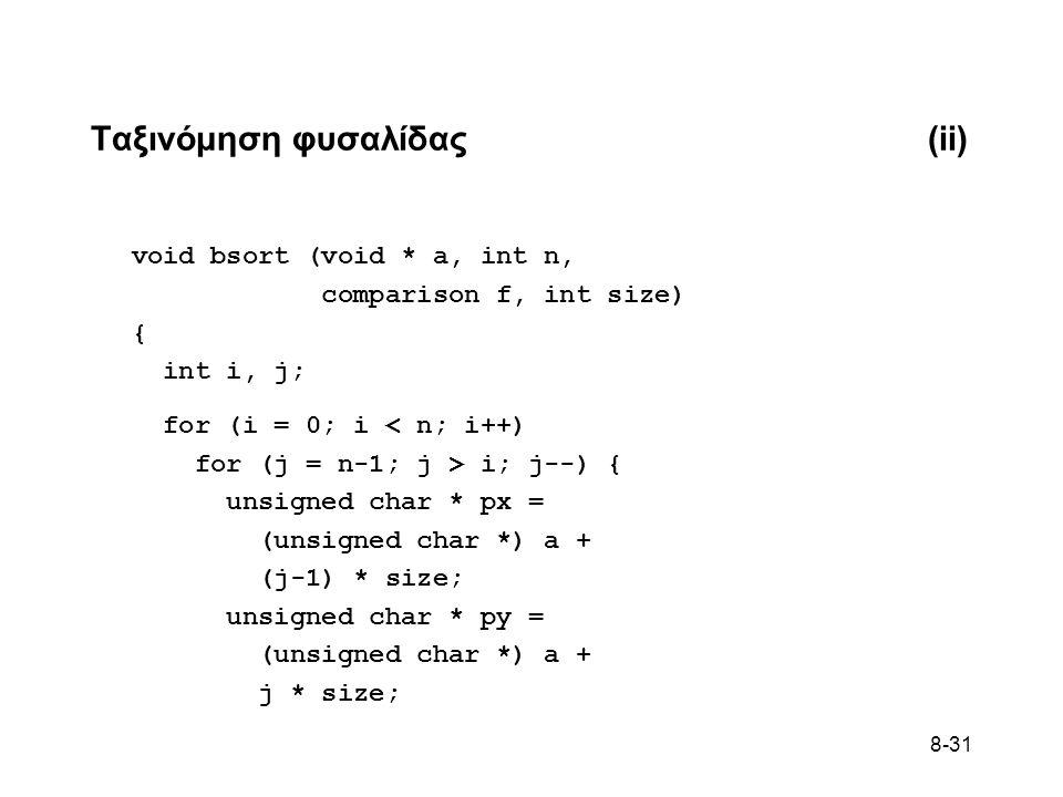 8-31 Ταξινόμηση φυσαλίδας(ii) void bsort (void * a, int n, comparison f, int size) { int i, j; for (i = 0; i < n; i++) for (j = n-1; j > i; j--) { unsigned char * px = (unsigned char *) a + (j-1) * size; unsigned char * py = (unsigned char *) a + j * size;