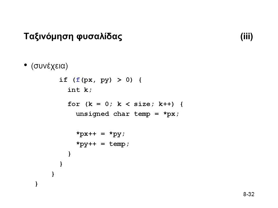 8-32 Ταξινόμηση φυσαλίδας(iii) • (συνέχεια) if (f(px, py) > 0) { int k; for (k = 0; k < size; k++) { unsigned char temp = *px; *px++ = *py; *py++ = temp; }