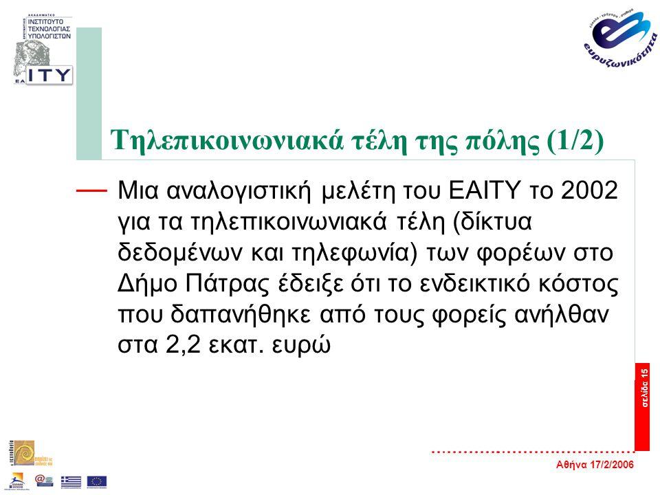 Αθήνα 17/2/2006 σελίδα 15 Τηλεπικοινωνιακά τέλη της πόλης (1/2) — Μια αναλογιστική μελέτη του ΕΑΙΤΥ το 2002 για τα τηλεπικοινωνιακά τέλη (δίκτυα δεδομένων και τηλεφωνία) των φορέων στο Δήμο Πάτρας έδειξε ότι το ενδεικτικό κόστος που δαπανήθηκε από τους φορείς ανήλθαν στα 2,2 εκατ.