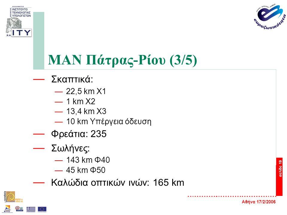 Αθήνα 17/2/2006 σελίδα 19 ΜΑΝ Πάτρας-Ρίου (3/5) — Σκαπτικά: —22,5 km Χ1 —1 km X2 —13,4 km X3 —10 km Υπέργεια όδευση — Φρεάτια: 235 — Σωλήνες: —143 km