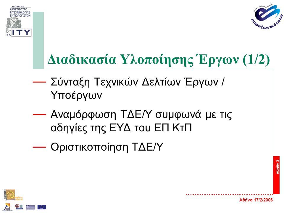 Αθήνα 17/2/2006 σελίδα 2 Διαδικασία Υλοποίησης Έργων (1/2) — Σύνταξη Τεχνικών Δελτίων Έργων / Υποέργων — Αναμόρφωση ΤΔΕ/Υ συμφωνά με τις οδηγίες της Ε