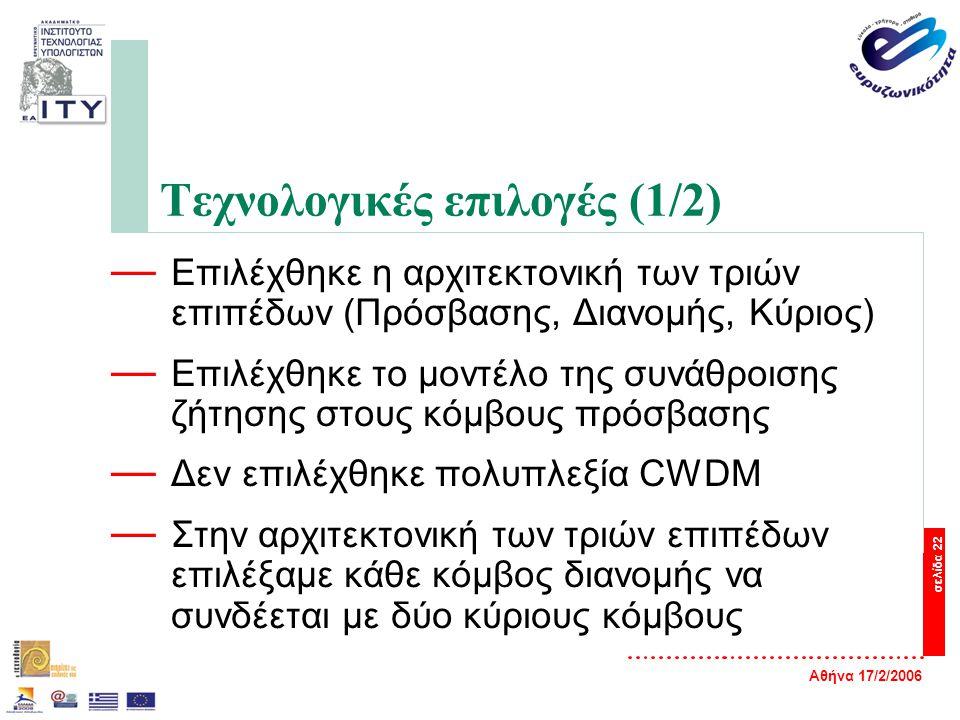 Αθήνα 17/2/2006 σελίδα 22 Τεχνολογικές επιλογές (1/2) — Επιλέχθηκε η αρχιτεκτονική των τριών επιπέδων (Πρόσβασης, Διανομής, Κύριος) — Επιλέχθηκε το μοντέλο της συνάθροισης ζήτησης στους κόμβους πρόσβασης — Δεν επιλέχθηκε πολυπλεξία CWDM — Στην αρχιτεκτονική των τριών επιπέδων επιλέξαμε κάθε κόμβος διανομής να συνδέεται με δύο κύριους κόμβους