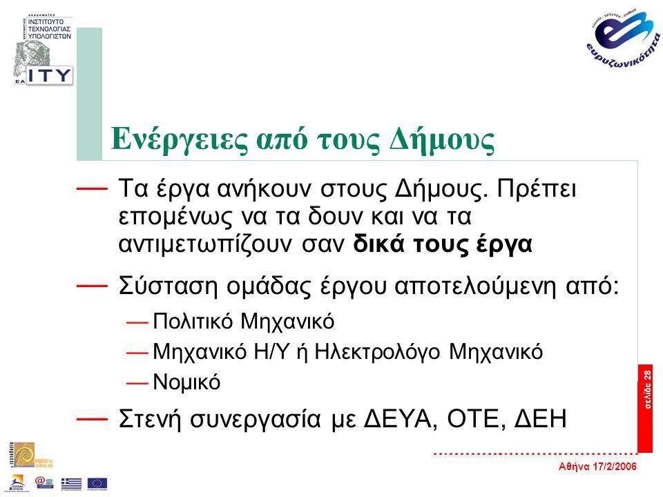 Αθήνα 17/2/2006 σελίδα 28 Ενέργειες από τους Δήμους — Τα έργα ανήκουν στους Δήμους. Πρέπει επομένως να τα δουν και να τα αντιμετωπίζουν σαν δικά τους
