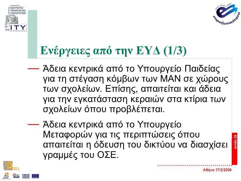 Αθήνα 17/2/2006 σελίδα 29 Ενέργειες από την ΕΥΔ (1/3) — Άδεια κεντρικά από το Υπουργείο Παιδείας για τη στέγαση κόμβων των ΜΑΝ σε χώρους των σχολείων.