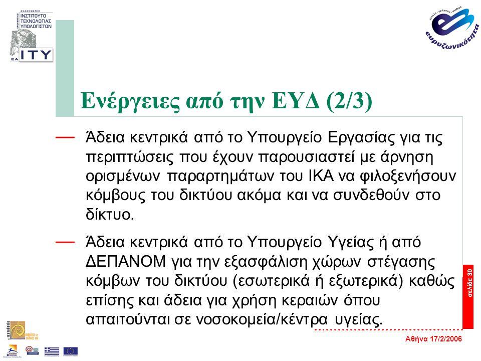 Αθήνα 17/2/2006 σελίδα 30 Ενέργειες από την ΕΥΔ (2/3) — Άδεια κεντρικά από το Υπουργείο Εργασίας για τις περιπτώσεις που έχουν παρουσιαστεί με άρνηση ορισμένων παραρτημάτων του ΙΚΑ να φιλοξενήσουν κόμβους του δικτύου ακόμα και να συνδεθούν στο δίκτυο.