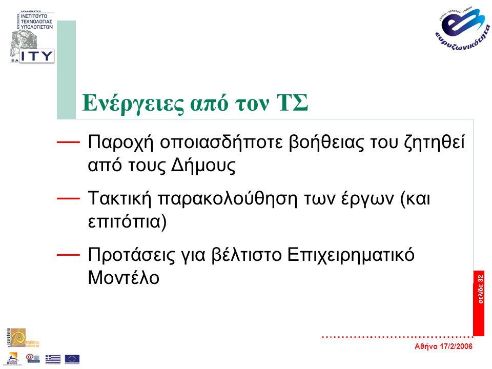 Αθήνα 17/2/2006 σελίδα 32 Ενέργειες από τον ΤΣ — Παροχή οποιασδήποτε βοήθειας του ζητηθεί από τους Δήμους — Τακτική παρακολούθηση των έργων (και επιτόπια) — Προτάσεις για βέλτιστο Επιχειρηματικό Μοντέλο