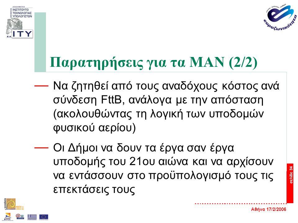 Αθήνα 17/2/2006 σελίδα 34 Παρατηρήσεις για τα ΜΑΝ (2/2) — Να ζητηθεί από τους αναδόχους κόστος ανά σύνδεση FttB, ανάλογα με την απόσταση (ακολουθώντας τη λογική των υποδομών φυσικού αερίου) — Οι Δήμοι να δουν τα έργα σαν έργα υποδομής του 21ου αιώνα και να αρχίσουν να εντάσσουν στο προϋπολογισμό τους τις επεκτάσεις τους