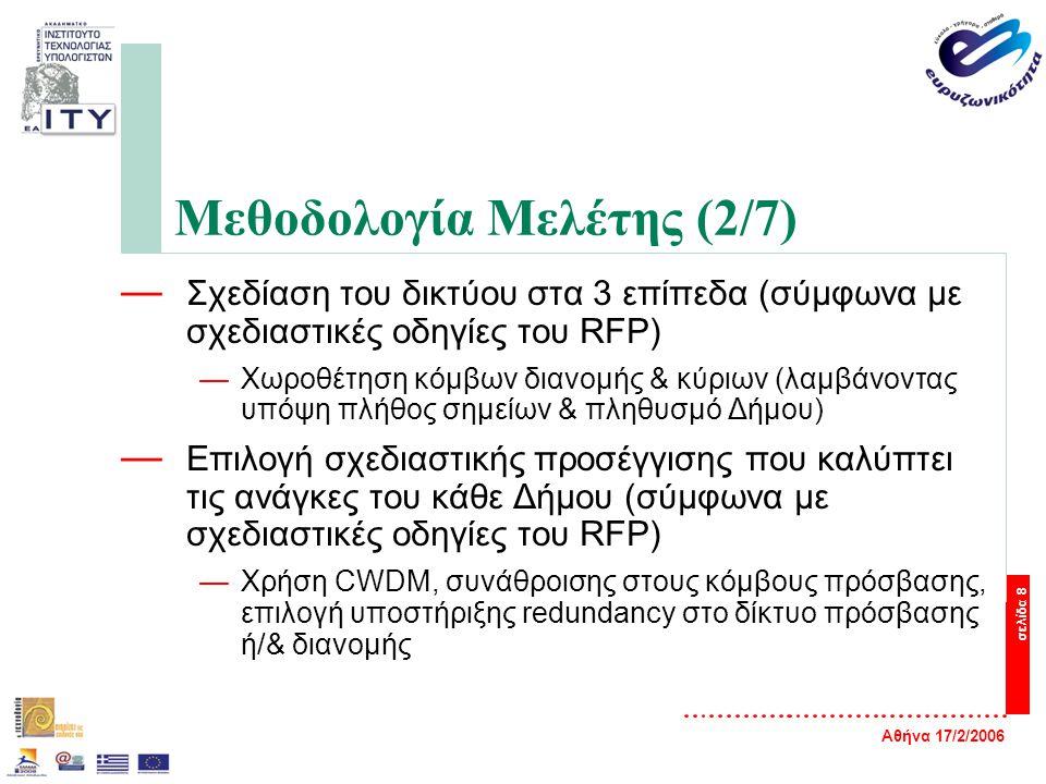 Αθήνα 17/2/2006 σελίδα 8 Μεθοδολογία Μελέτης (2/7) — Σχεδίαση του δικτύου στα 3 επίπεδα (σύμφωνα με σχεδιαστικές οδηγίες του RFP) —Χωροθέτηση κόμβων διανομής & κύριων (λαμβάνοντας υπόψη πλήθος σημείων & πληθυσμό Δήμου) — Επιλογή σχεδιαστικής προσέγγισης που καλύπτει τις ανάγκες του κάθε Δήμου (σύμφωνα με σχεδιαστικές οδηγίες του RFP) —Χρήση CWDM, συνάθροισης στους κόμβους πρόσβασης, επιλογή υποστήριξης redundancy στο δίκτυο πρόσβασης ή/& διανομής