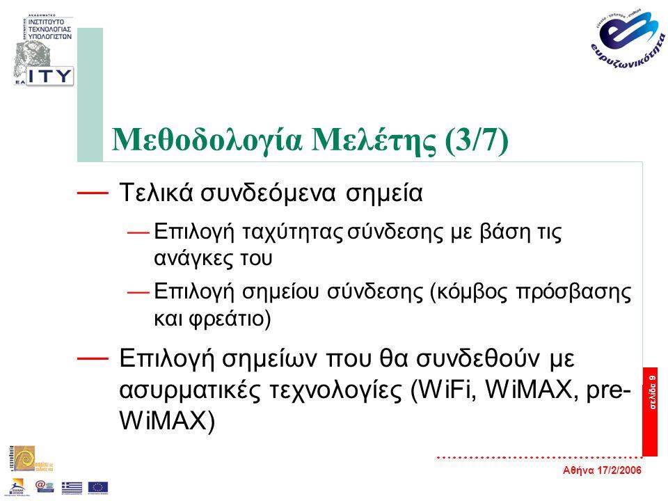 Αθήνα 17/2/2006 σελίδα 9 Μεθοδολογία Μελέτης (3/7) — Τελικά συνδεόμενα σημεία —Επιλογή ταχύτητας σύνδεσης με βάση τις ανάγκες του —Επιλογή σημείου σύνδεσης (κόμβος πρόσβασης και φρεάτιο) — Επιλογή σημείων που θα συνδεθούν με ασυρματικές τεχνολογίες (WiFi, WiMAX, pre- WiMAX)