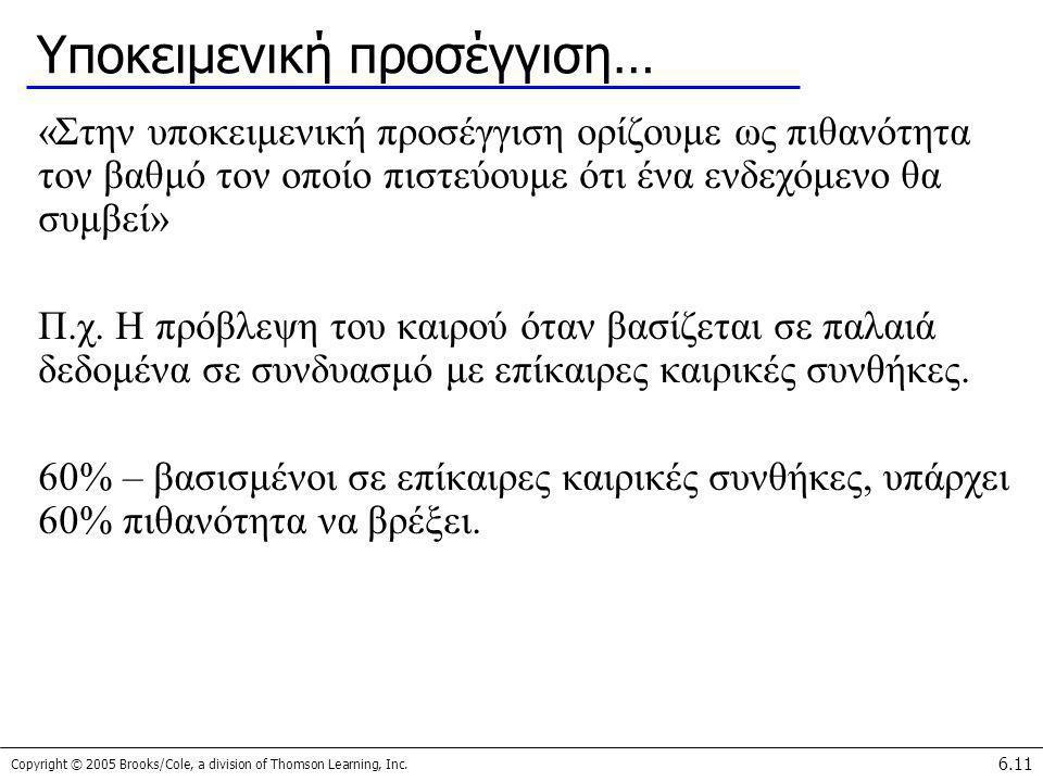 Copyright © 2005 Brooks/Cole, a division of Thomson Learning, Inc. 6.11 Υποκειμενική προσέγγιση… «Στην υποκειμενική προσέγγιση ορίζουμε ως πιθανότητα