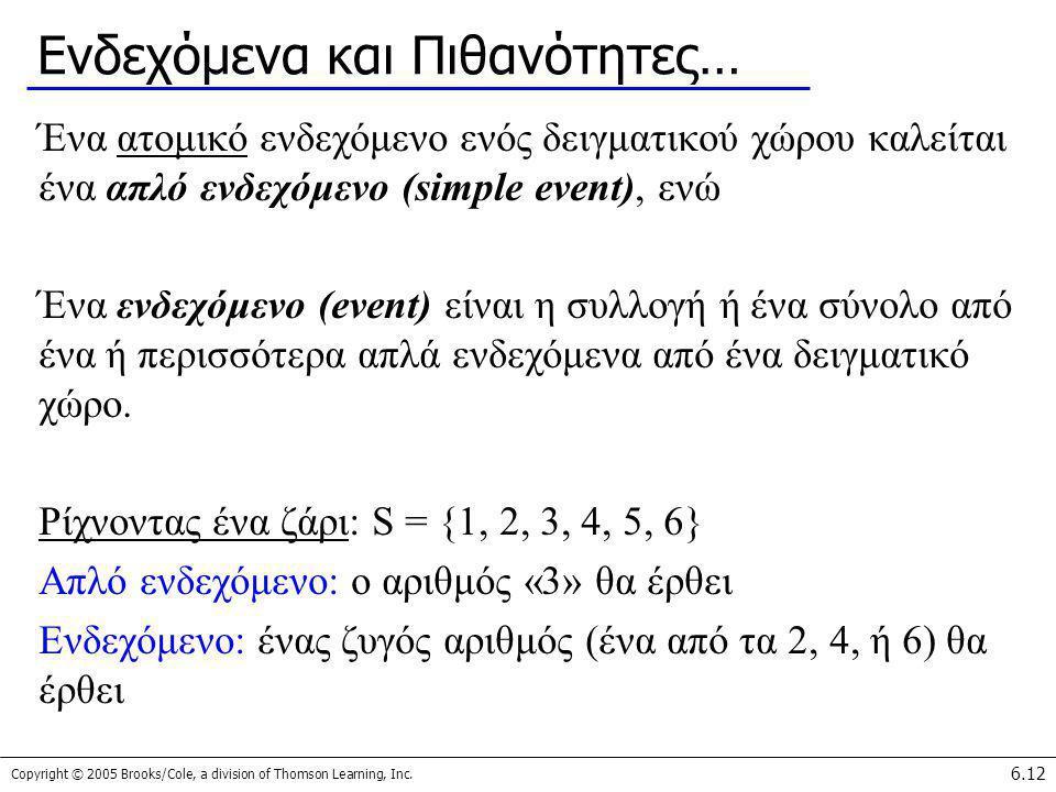 Copyright © 2005 Brooks/Cole, a division of Thomson Learning, Inc. 6.12 Ενδεχόμενα και Πιθανότητες… Ένα ατομικό ενδεχόμενο ενός δειγματικού χώρου καλε