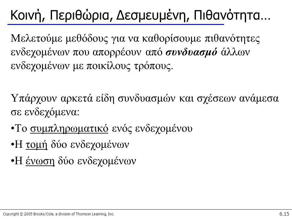 Copyright © 2005 Brooks/Cole, a division of Thomson Learning, Inc. 6.15 Κοινή, Περιθώρια, Δεσμευμένη, Πιθανότητα… Μελετούμε μεθόδους για να καθορίσουμ