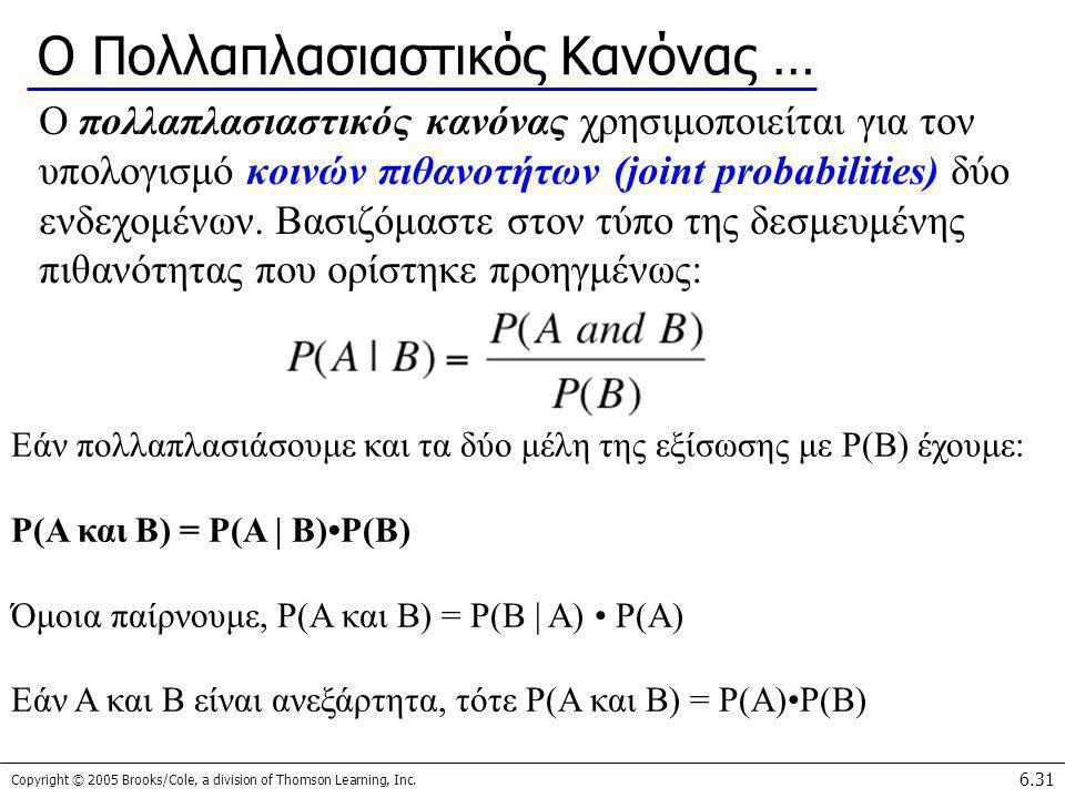 Copyright © 2005 Brooks/Cole, a division of Thomson Learning, Inc. 6.31 Ο Πολλαπλασιαστικός Κανόνας … Ο πολλαπλασιαστικός κανόνας χρησιμοποιείται για