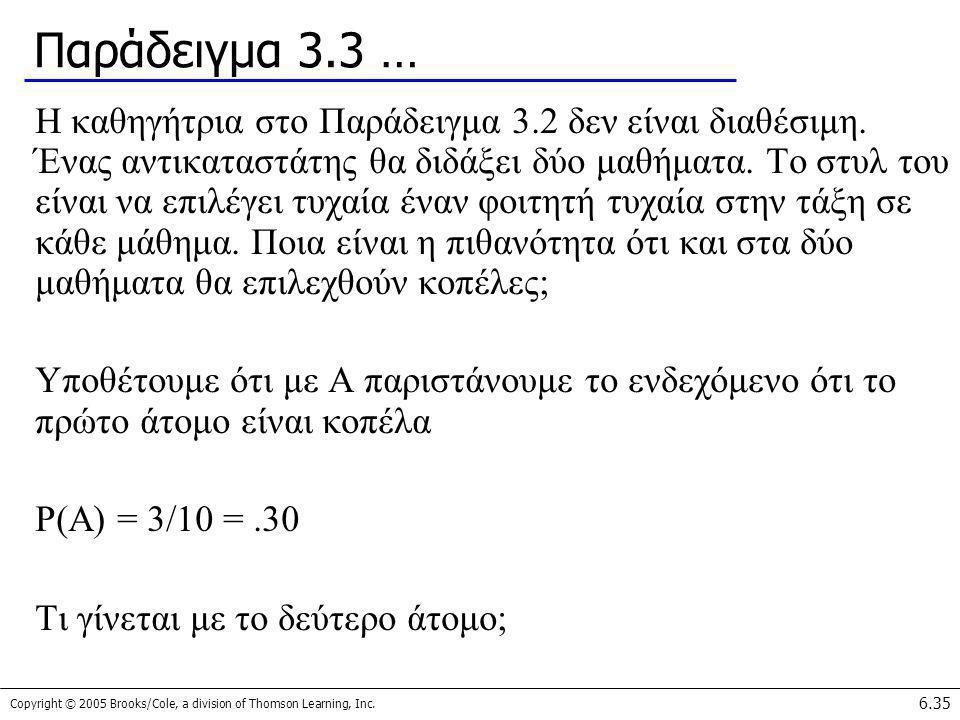Copyright © 2005 Brooks/Cole, a division of Thomson Learning, Inc. 6.35 Παράδειγμα 3.3 … Η καθηγήτρια στο Παράδειγμα 3.2 δεν είναι διαθέσιμη. Ένας αντ