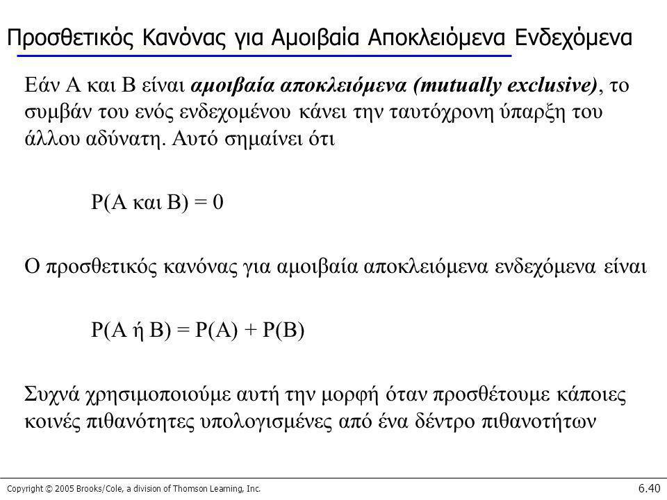 Copyright © 2005 Brooks/Cole, a division of Thomson Learning, Inc. 6.40 Προσθετικός Κανόνας για Αμοιβαία Αποκλειόμενα Ενδεχόμενα Εάν A και B είναι αμο