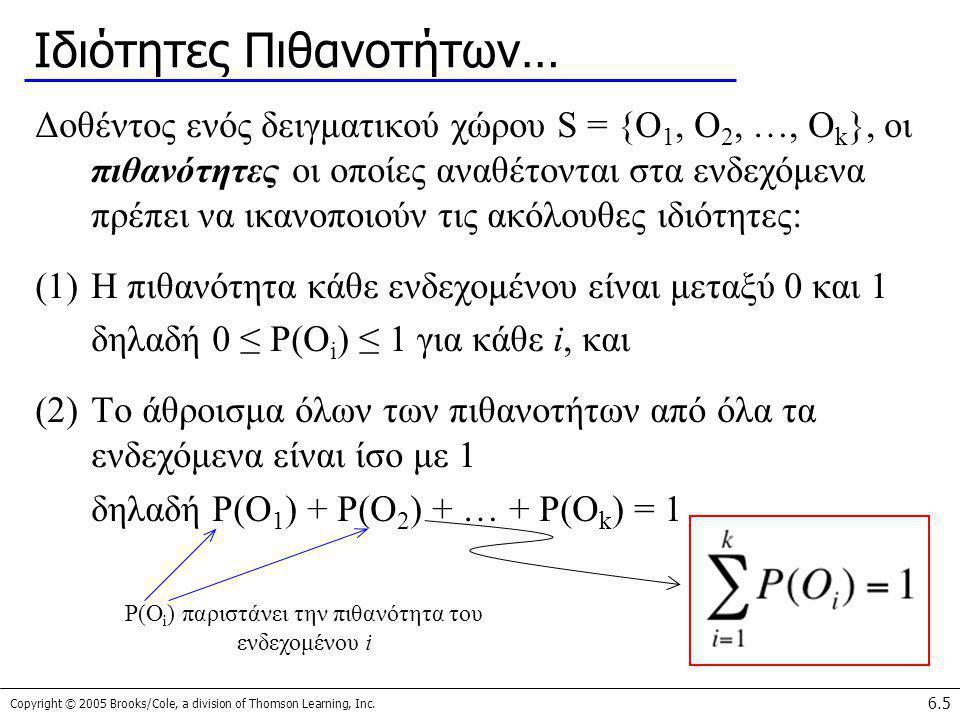 Copyright © 2005 Brooks/Cole, a division of Thomson Learning, Inc. 6.5 Ιδιότητες Πιθανοτήτων… Δοθέντος ενός δειγματικού χώρου S = {O 1, O 2, …, O k },