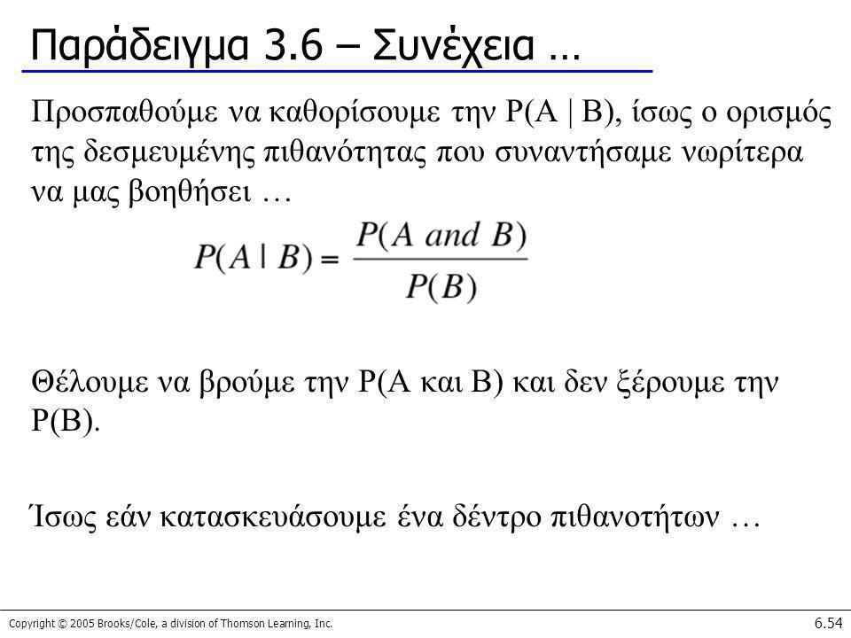 Copyright © 2005 Brooks/Cole, a division of Thomson Learning, Inc. 6.54 Παράδειγμα 3.6 – Συνέχεια … Προσπαθούμε να καθορίσουμε την P(A | B), ίσως ο ορ
