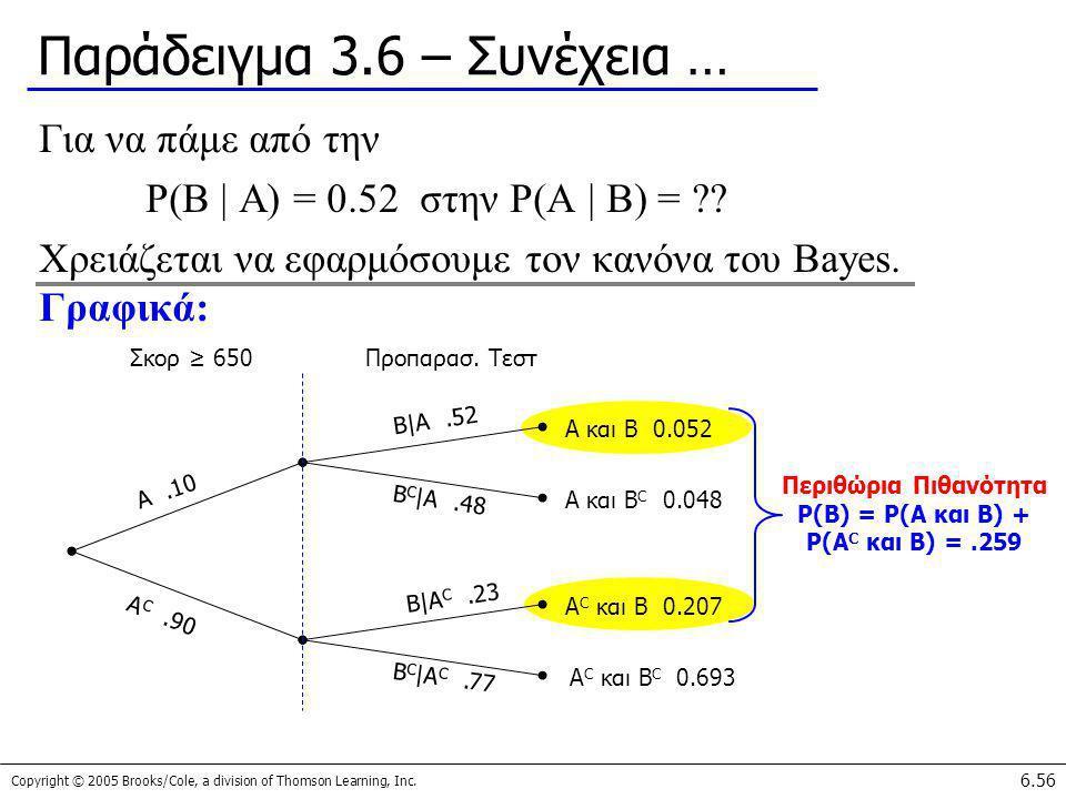 Copyright © 2005 Brooks/Cole, a division of Thomson Learning, Inc. 6.56 Παράδειγμα 3.6 – Συνέχεια … Για να πάμε από την P(B | A) = 0.52 στην P(A | B)