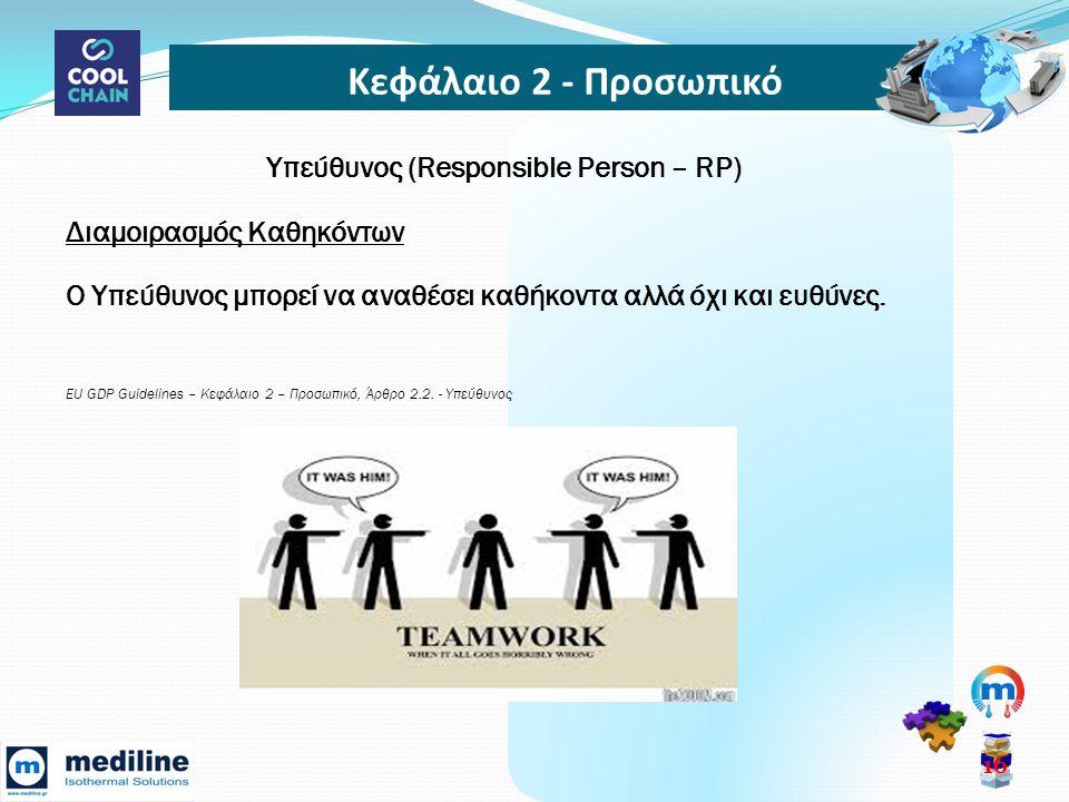 Κεφάλαιο 2 - Προσωπικό 16 Υπεύθυνος (Responsible Person – RP) Διαμοιρασμός Καθηκόντων Ο Υπεύθυνος μπορεί να αναθέσει καθήκοντα αλλά όχι και ευθύνες.