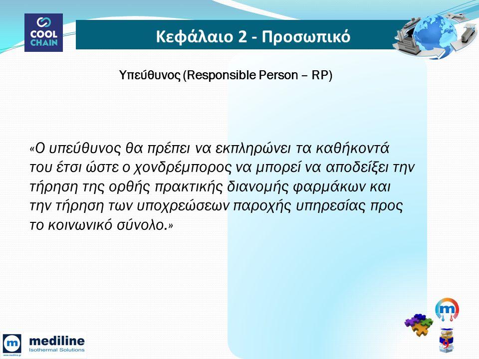 Κεφάλαιο 2 - Προσωπικό 10 Υπεύθυνος (Responsible Person – RP) Ρόλοι • Διασφαλίζει οτι όλες οι σχετικές Άδειες είναι σε ισχύ και ενημερωμένες.