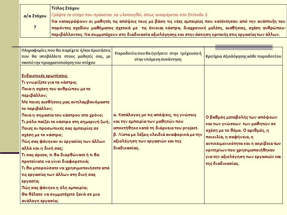 α/α Στόχου 7 Τίτλος Στόχου Γράψτε το στόχο που πρόκειται να υλοποιηθεί, όπως αναφέρεται στο Επίπεδο 2.