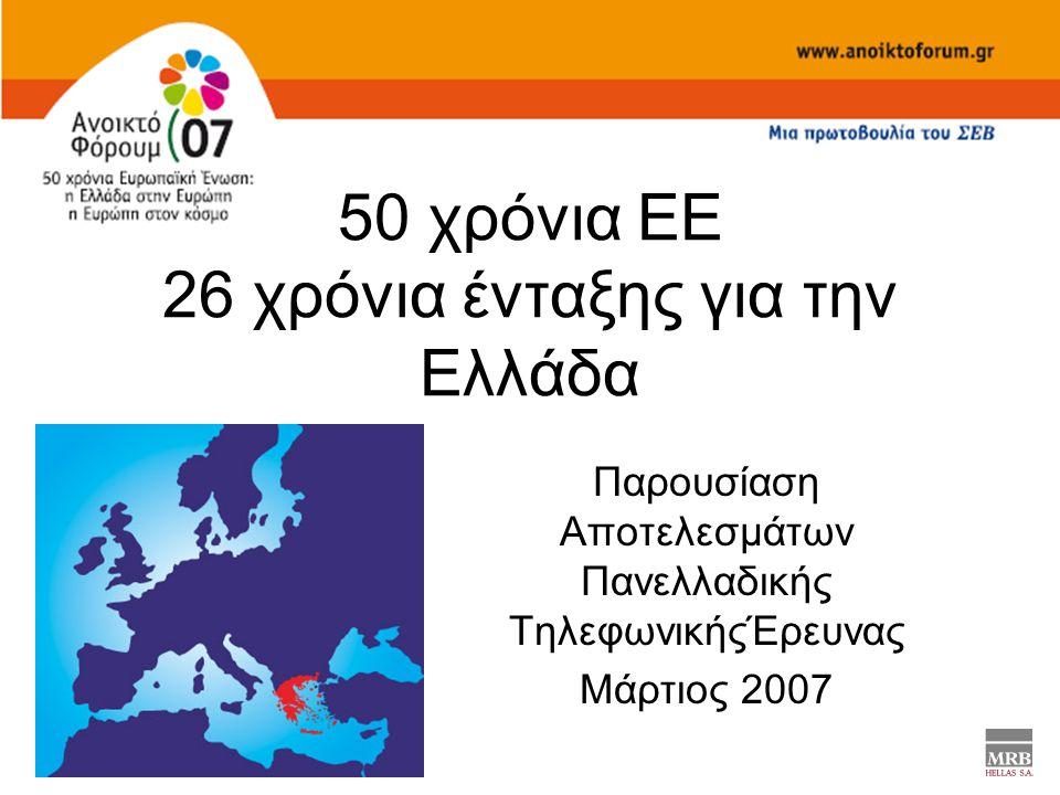 50 χρόνια ΕΕ 26 χρόνια ένταξης για την Ελλάδα Παρουσίαση Αποτελεσμάτων Πανελλαδικής ΤηλεφωνικήςΈρευνας Μάρτιος 2007