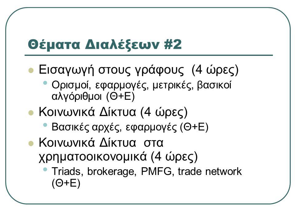 Θέματα Διαλέξεων #2  Εισαγωγή στους γράφους (4 ώρες) • Ορισμοί, εφαρμογές, μετρικές, βασικοί αλγόριθμοι (Θ+Ε)  Κοινωνικά Δίκτυα (4 ώρες) • Βασικές αρχές, εφαρμογές (Θ+Ε)  Κοινωνικά Δίκτυα στα χρηματοοικονομικά (4 ώρες) • Triads, brokerage, PMFG, trade network (Θ+Ε)