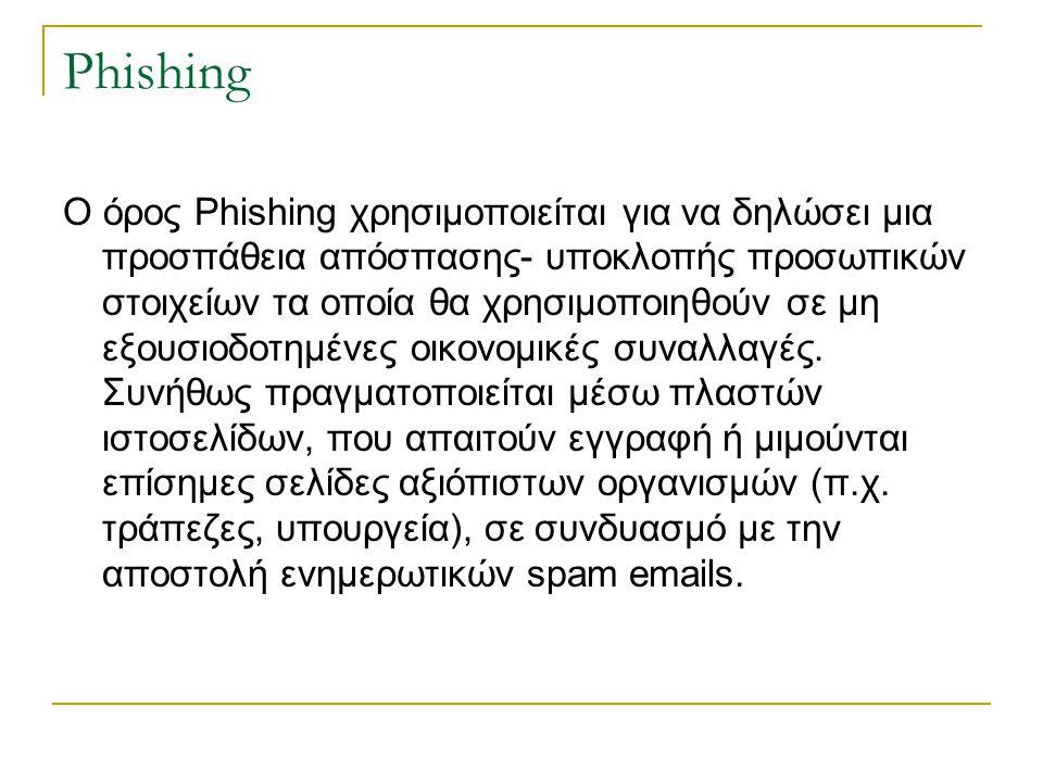 Phishing Ο όρος Phishing χρησιμοποιείται για να δηλώσει μια προσπάθεια απόσπασης- υποκλοπής προσωπικών στοιχείων τα οποία θα χρησιμοποιηθούν σε μη εξο