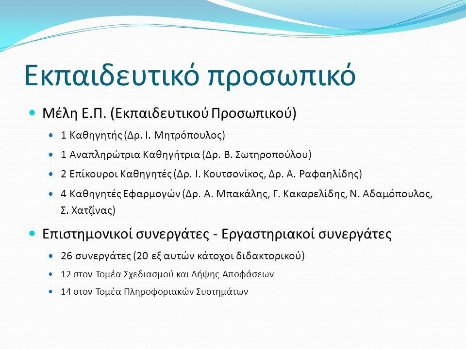 Εκπαιδευτικό προσωπικό  Μέλη Ε.Π. (Εκπαιδευτικού Προσωπικού)  1 Καθηγητής (Δρ. Ι. Μητρόπουλος)  1 Αναπληρώτρια Καθηγήτρια (Δρ. Β. Σωτηροπούλου)  2