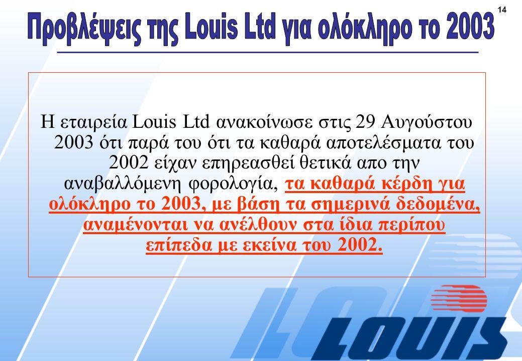 14 Η εταιρεία Louis Ltd ανακοίνωσε στις 29 Αυγούστου 2003 ότι παρά του ότι τα καθαρά αποτελέσματα του 2002 είχαν επηρεασθεί θετικά απο την αναβαλλόμενη φορολογία, τα καθαρά κέρδη για ολόκληρο το 2003, με βάση τα σημερινά δεδομένα, αναμένονται να ανέλθουν στα ίδια περίπου επίπεδα με εκείνα του 2002.