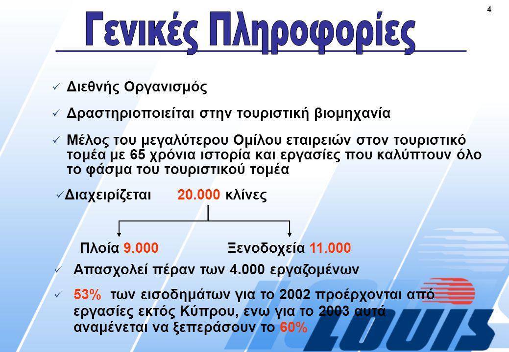 4  Διεθνής Οργανισμός  Δραστηριοποιείται στην τουριστική βιομηχανία  Μέλος του μεγαλύτερου Ομίλου εταιρειών στον τουριστικό τομέα με 65 χρόνια ιστορία και εργασίες που καλύπτουν όλο το φάσμα του τουριστικού τομέα  Απασχολεί πέραν των 4.000 εργαζομένων  53% των εισοδημάτων για το 2002 προέρχονται από εργασίες εκτός Κύπρου, ενω για το 2003 αυτά αναμένεται να ξεπεράσουν το 60% Πλοία 9.000Ξενοδοχεία 11.000  Διαχειρίζεται20.000 κλίνες