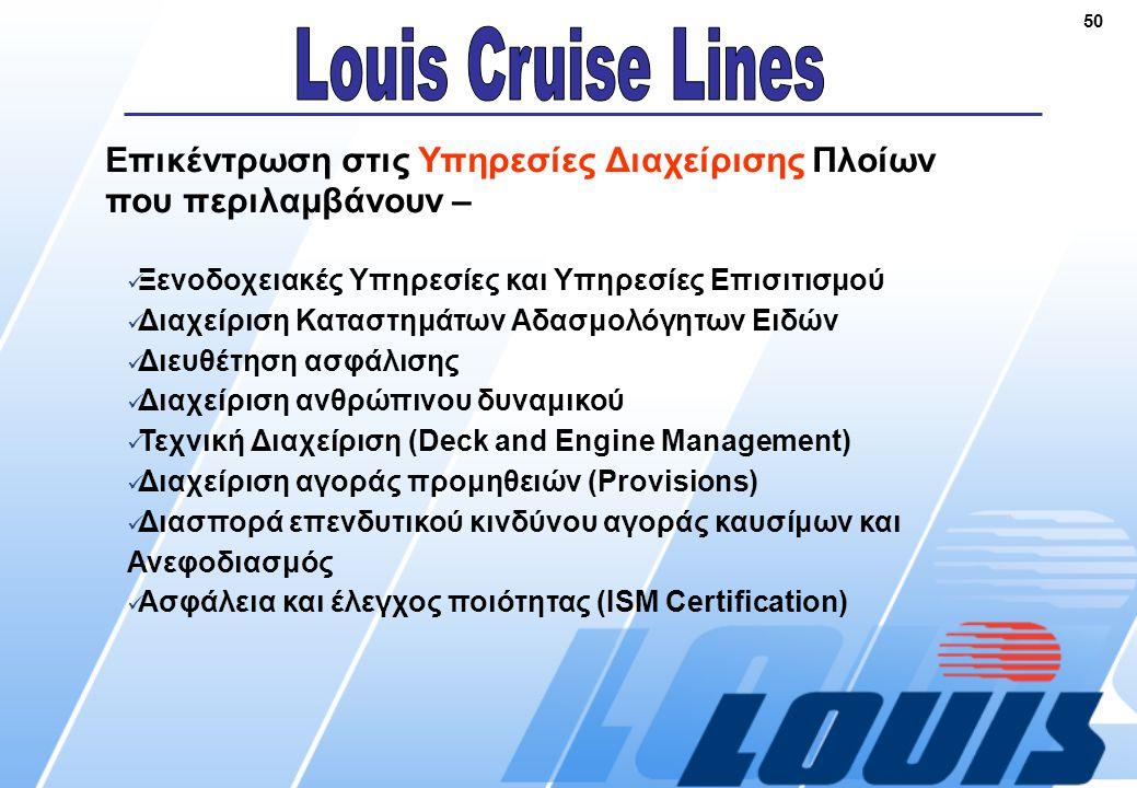 50 Επικέντρωση στις Υπηρεσίες Διαχείρισης Πλοίων που περιλαμβάνουν –  Ξενοδοχειακές Υπηρεσίες και Υπηρεσίες Επισιτισμού  Διαχείριση Καταστημάτων Αδασμολόγητων Ειδών  Διευθέτηση ασφάλισης  Διαχείριση ανθρώπινου δυναμικού  Τεχνική Διαχείριση (Deck and Engine Management)  Διαχείριση αγοράς προμηθειών (Provisions)  Διασπορά επενδυτικού κινδύνου αγοράς καυσίμων και Ανεφοδιασμός  Ασφάλεια και έλεγχος ποιότητας (ISM Certification)