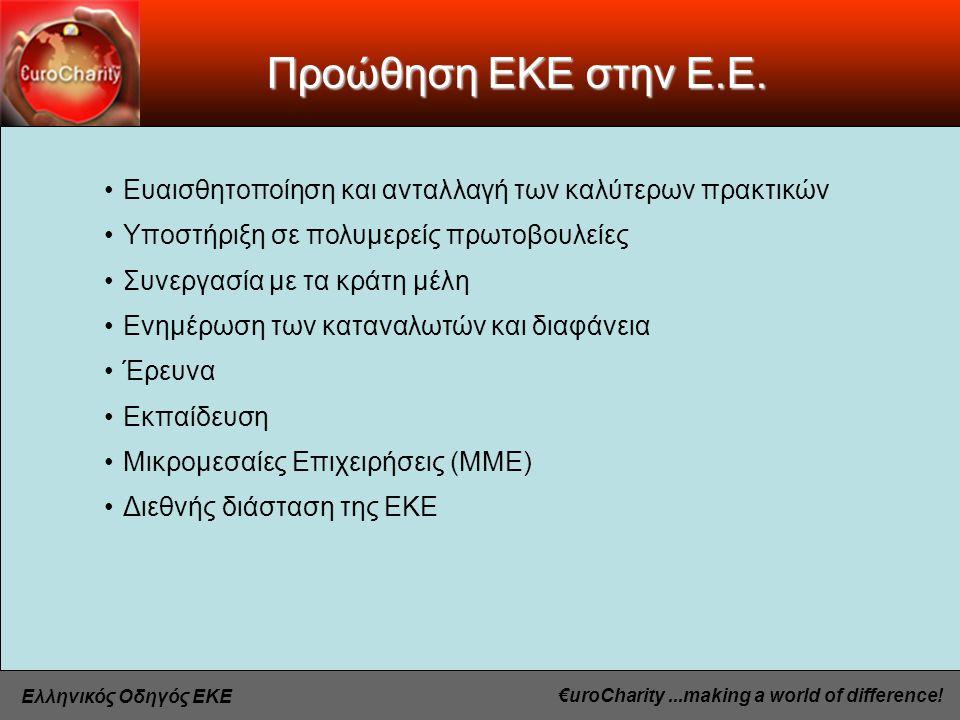 €uroCharity...making a world of difference. Ελληνικός Οδηγός ΕΚΕ Προώθηση ΕΚΕ στην Ε.Ε.