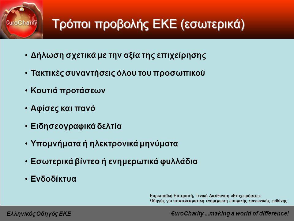 €uroCharity...making a world of difference.Ελληνικός Οδηγός ΕΚΕ Προώθηση ΕΚΕ στην Ε.Ε.