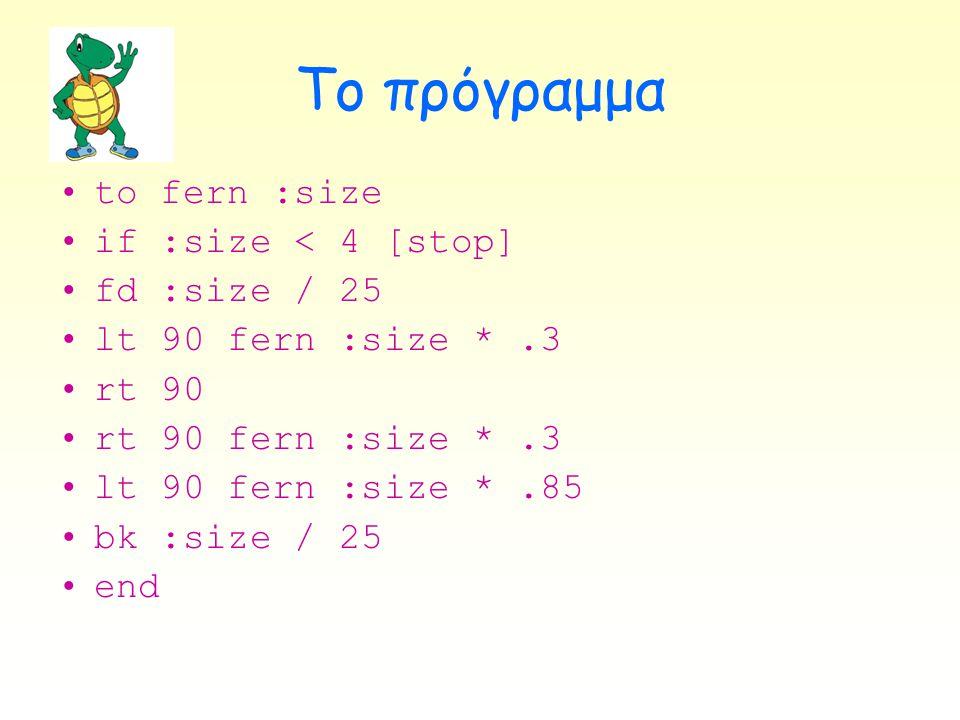 Το πρόγραμμα •to fern :size •if :size < 4 [stop] •fd :size / 25 •lt 90 fern :size *.3 •rt 90 •rt 90 fern :size *.3 •lt 90 fern :size *.85 •bk :size /