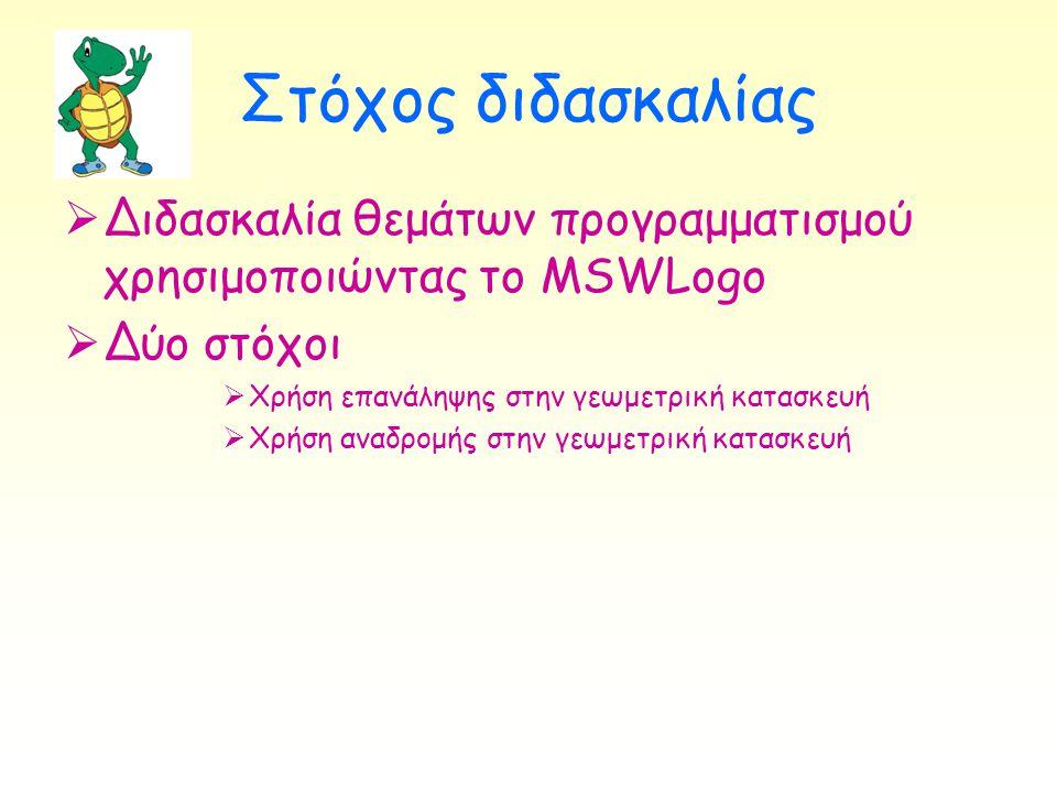 Στόχος διδασκαλίας  Διδασκαλία θεμάτων προγραμματισμού χρησιμοποιώντας το MSWLogo  Δύο στόχοι  Χρήση επανάληψης στην γεωμετρική κατασκευή  Χρήση α