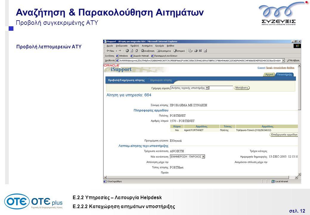 σελ. 12 Ε.2.2 Υπηρεσίες – Λειτουργία Helpdesk Προβολή συγκεκριμένης ΑΤΥ Προβολή λεπτομερειών ΑΤΥ Ε.2.2.2 Καταχώρηση αιτημάτων υποστήριξης Αναζήτηση &