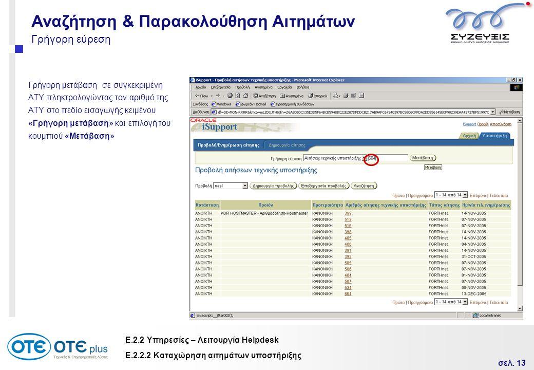 σελ. 13 Ε.2.2 Υπηρεσίες – Λειτουργία Helpdesk Γρήγορη εύρεση Γρήγορη μετάβαση σε συγκεκριμένη ΑΤΥ πληκτρολογώντας τον αριθμό της ΑΤΥ στο πεδίο εισαγωγ
