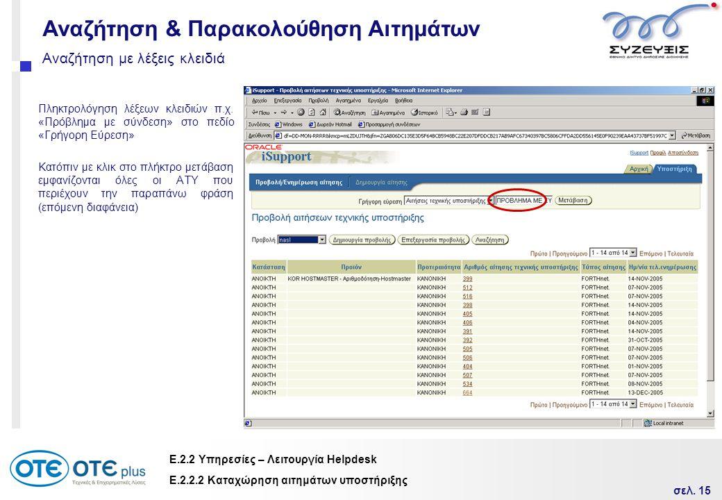 σελ. 15 Ε.2.2 Υπηρεσίες – Λειτουργία Helpdesk Αναζήτηση με λέξεις κλειδιά Πληκτρολόγηση λέξεων κλειδιών π.χ. «Πρόβλημα με σύνδεση» στο πεδίο «Γρήγορη