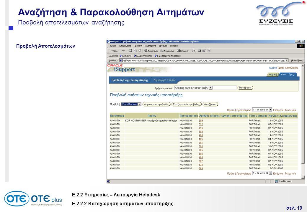 σελ. 19 Ε.2.2 Υπηρεσίες – Λειτουργία Helpdesk Προβολή αποτελεσμάτων αναζήτησης Προβολή Αποτελεσμάτων Ε.2.2.2 Καταχώρηση αιτημάτων υποστήριξης Αναζήτησ