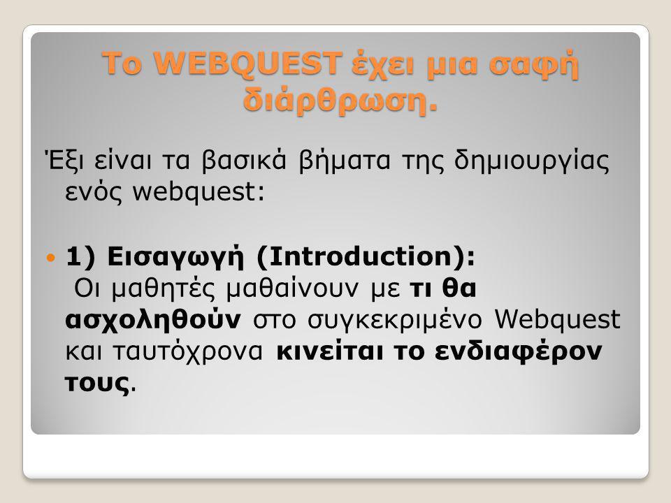 Το WEBQUEST έχει μια σαφή διάρθρωση. Έξι είναι τα βασικά βήματα της δημιουργίας ενός webquest:  1) Εισαγωγή (Introduction): Οι μαθητές μαθαίνουν με τ